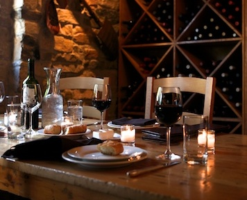 A table awaiting guests at The Harvest Vine